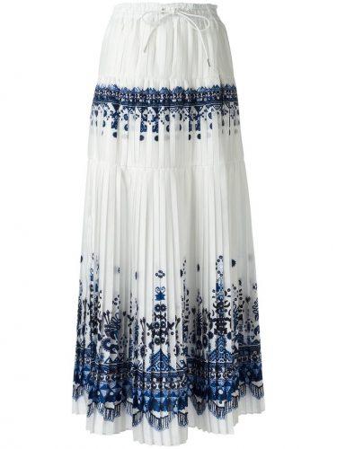 SACAI Tribal Lace マキシプリーツスカート
