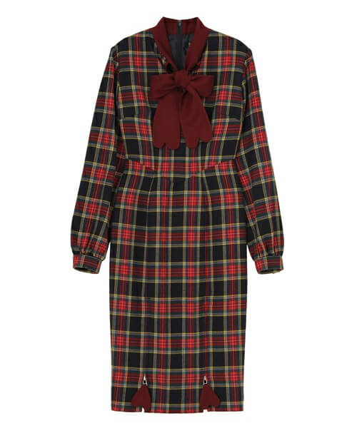 PAMEO POSE NEW HEART BOW PLAID DRES