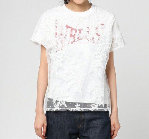 REKISAMI レースレイヤード ロゴTシャツ