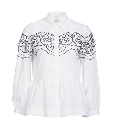 PINKO Cotton poplin shirt with embroidery