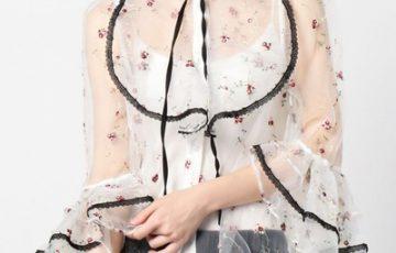 SISTER JANE 刺繍シースルーブラウス