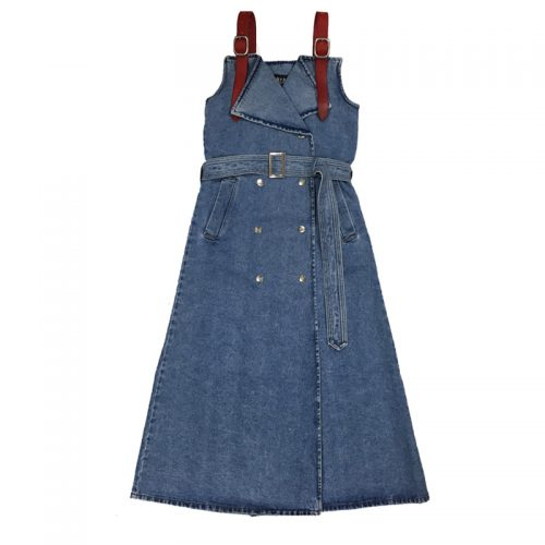 M.Y.O.B NYC FRONT SNAP DENIM ONE-PIECE (w/LEATHER BELT) -BLUE DENIM-