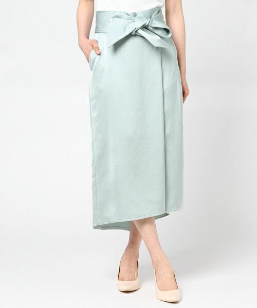 QUINOA BOUTIQUE シルキーサテンスリットスカート