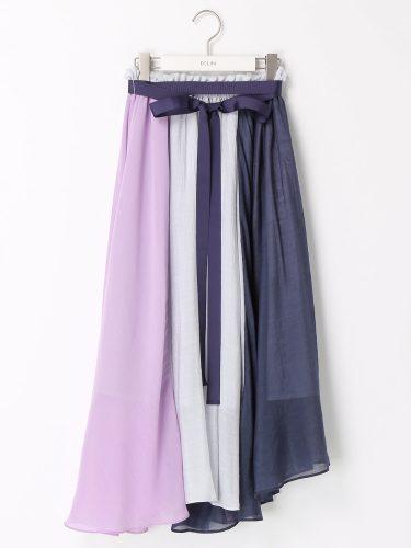 ECLIN カラーブロックギャザーリングスカート