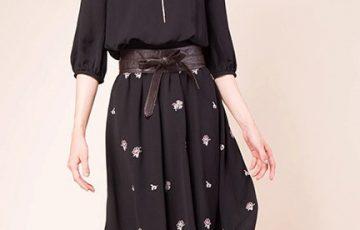 Fabulous Angela フラワー刺繍入りパフ袖ワンピース