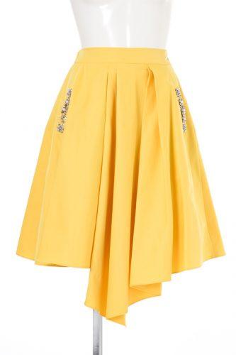 Cherry Ann ビジューポケット付きランダム裾スカート