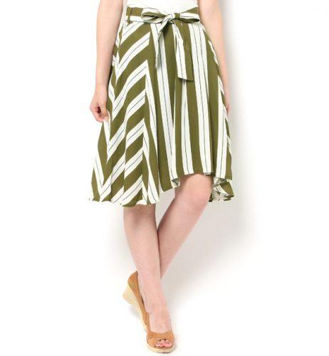 Fabulous Angela マルチストライプアシメフレアスカート