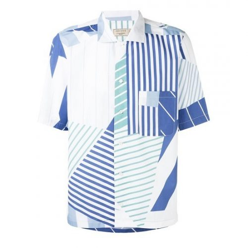 MAISON KITSUNE ALL-OVER PATCHED STRIPES SHIRT