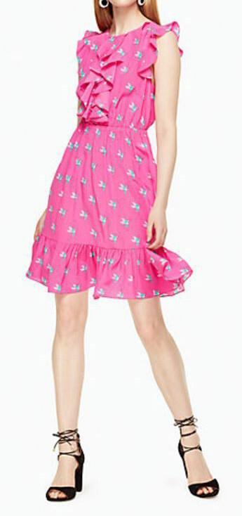kate spade new york hummingbird ruffle dress