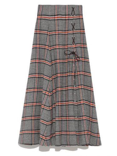 snidel チェックスリットロングスカート