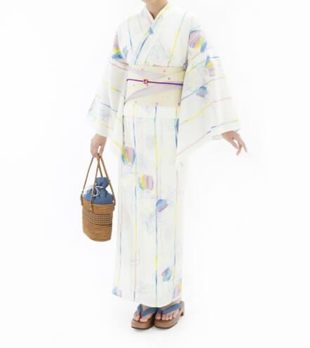三松・しゃら 三松オリジナル浴衣【ぬり絵】キイロ