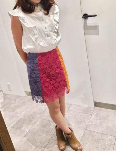 REDYAZEL カラーブロック台形ミニスカート