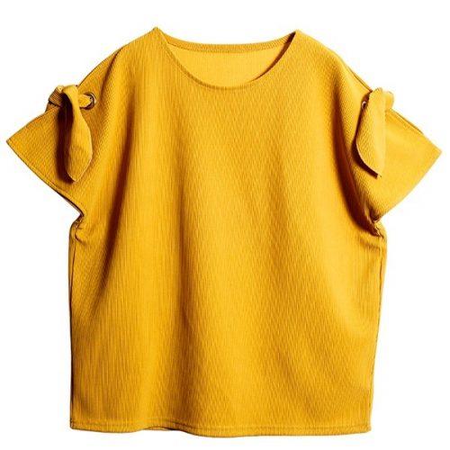 OSMOSIS リボンスリットスリーブTシャツ
