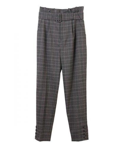 31 Sons de mode グレンチェック裾釦付きパンツ