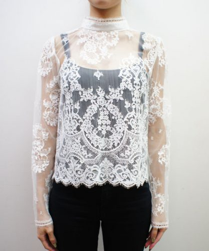 AULA LEAVER LACE STAND COLLAR BLOUSE