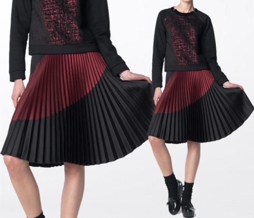 Black Mouton カラーコンビプリーツスカート