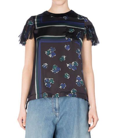 SACAI Floral-Print Flutter-Sleeve Top