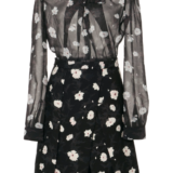 Carven Floral Tie Neck Mini Dress