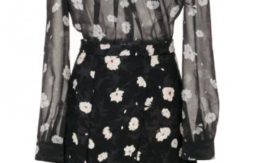 Carven Floral Tie Neck Mini Dress