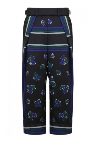 SACAI FLOWER PRINT WIDE LEG PANTS BLACK