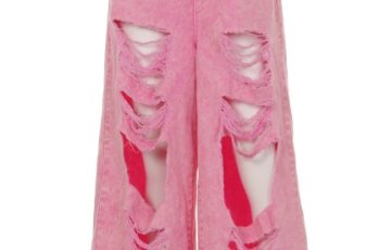 Candy Stripper DAMAGE DENIM WIDE PANTS(CHEMICAL PINK)